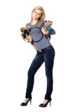 Pretty blonde posing with two dogs Royalty Free Stock Photography