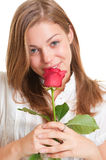 Pretty blonde with rose Royalty Free Stock Photography