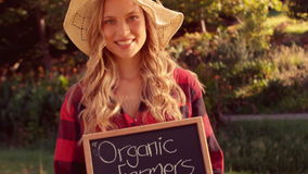 Pretty blonde selling organic vegetables at market stock video
