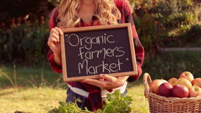 Pretty blonde selling organic vegetables at market stock video footage