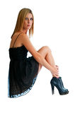 Pretty blonde short dress Royalty Free Stock Photography