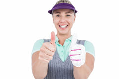 Pretty blonde showing thumbs up Royalty Free Stock Photos