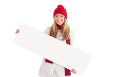 Pretty blonde showing white banner Royalty Free Stock Photo