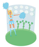Pretty Blonde Smiling Cheerleader With Pom Poms. Abstract card Royalty Free Stock Images