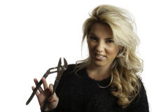 Pretty Blonde Snarling Mean Face Holding Pliers Isolated  Background Stock Image