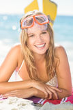 pretty blonde with snorkel and flippers Royalty Free Stock Photo