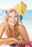 pretty blonde with snorkel and flippers Stock Image
