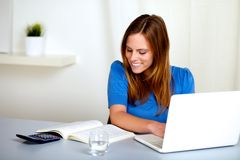 Pretty blonde student girl smiling and learning Stock Photos