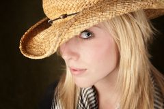 Pretty blonde teenager in a cowboy hat Royalty Free Stock Images
