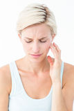 Pretty blonde with tooth pain Royalty Free Stock Photography