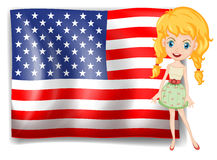 A pretty blonde and the USA flag Stock Photos