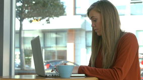 Pretty blonde using laptop in cafe. In high quality format stock video