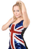 Pretty blonde wearing union-flag shirt Royalty Free Stock Photography