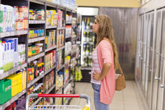 Pretty blonde woman buying a products Royalty Free Stock Photo