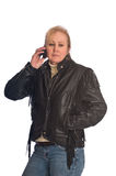 Pretty blonde woman on cell phone Royalty Free Stock Photo
