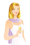 Pretty blonde woman. With champagne Royalty Free Stock Photo