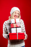 Pretty blonde woman with christmas present Stock Image
