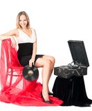 Pretty blonde woman with gramophone Stock Photography
