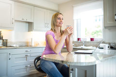 Pretty blonde woman having coffee and using laptop Stock Image