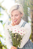 Pretty blonde woman holding bunch of flowers Royalty Free Stock Images