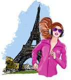 Pretty blonde woman jogging in paris Stock Images