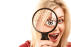 Pretty Blonde Woman with Magnifying Glass Stock Photos