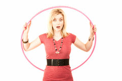 Pretty Blonde Woman with Plastic Hoop Stock Images