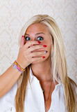 Pretty blonde woman raped. Hand on mouth Stock Image