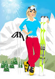 Pretty blonde woman standing with mountain skis Royalty Free Stock Photo