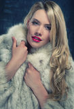 Pretty blonde woman in winter coat Royalty Free Stock Photo