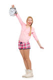 The pretty blondie girl holding alarm-clock isolated on white Royalty Free Stock Photography