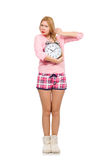 The pretty blondie girl holding alarm-clock isolated on white Royalty Free Stock Photos