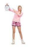 The pretty blondie girl holding alarm-clock isolated on white. Pretty blondie girl holding alarm-clock isolated on white Stock Images
