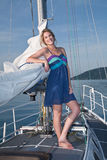 Pretty blong on the yacht Stock Image