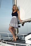 Pretty blong on the yacht Stock Photo
