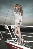 Pretty blong on the yacht Royalty Free Stock Images