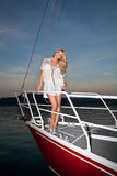 Pretty blong on the yacht Royalty Free Stock Image