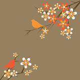 Floral and bird decorative background Royalty Free Stock Photo