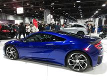 Pretty Blue Acura Sports Car. Photo of pretty blue acura sports car at the washington dc auto show on 2/3/18.  This car features high performance Stock Images