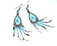 Pretty blue earrings Stock Photo