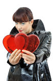 Pretty blue-eyed girl gives you two hearts Stock Photos