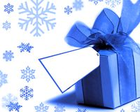 Pretty blue present. Blue present with a to/from tag Stock Photo
