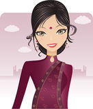 Pretty Bollywood Indian. Wearing A Red Dress And Bindi Stock Photo