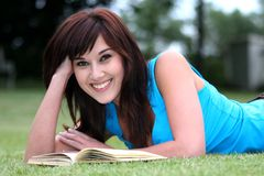 Pretty Book Reader Stock Images