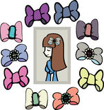 Pretty Bows. A set of 10 cute bows with a sample girl model Royalty Free Illustration