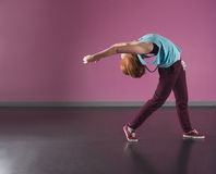 Pretty break dancer bending backwards Stock Photography