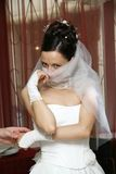 Pretty bride. Bride has closed person a fop royalty free stock photos