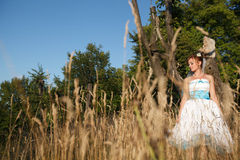 Pretty bride on the background herbs and forest Royalty Free Stock Photos
