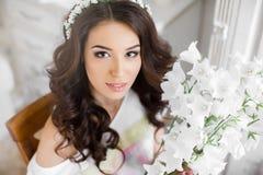Pretty bride with bouquet Stock Photo