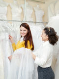 Pretty bride chooses bridal outfit Stock Photo